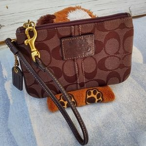 Coach Brown Signature C's Logo Wristlet